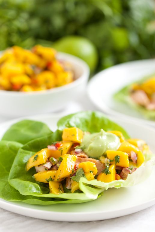 Fish Taco Lettuce Wraps with Mango Salsa and Coconut Avocado Cream | GI 365