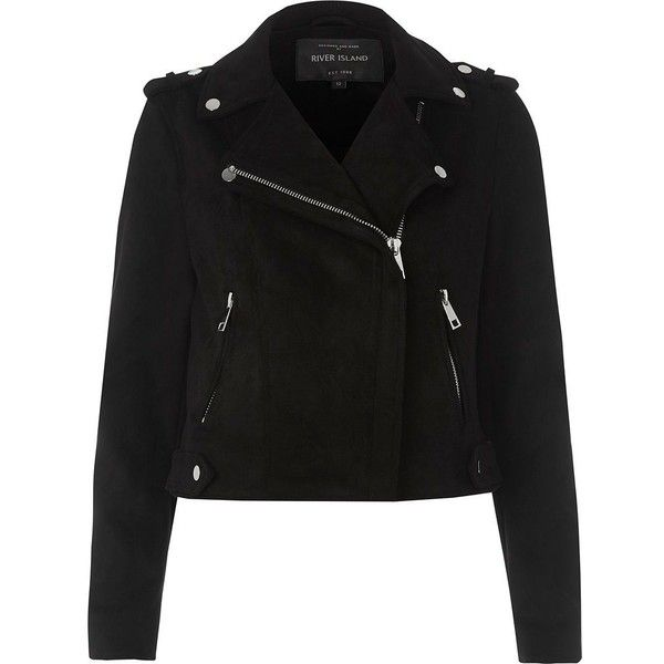 River Island Black faux suede biker jacket ($120) ❤ liked on Polyvore featuring outerwear, jackets, black, coats / jackets, women, biker style jacket, rider jacket, tall motorcycle jacket, faux suede biker jacket and long sleeve jacket