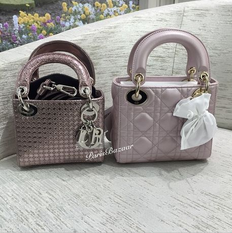 Perforated Metallic Pink Lady Dior Micro vs Lambskin Lady Dior Mini