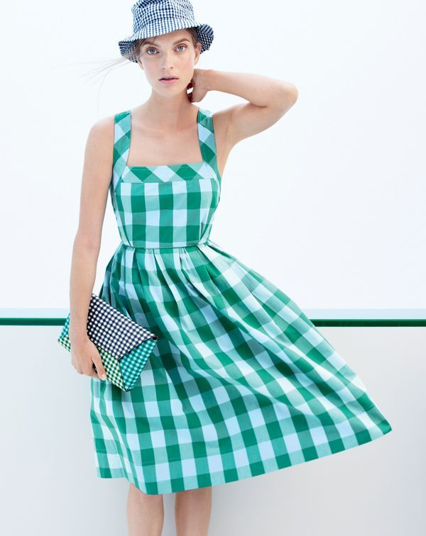 J.Crew women's gingham sundress, bucket hat in gingham and envelope clutch in gingham patchwork.