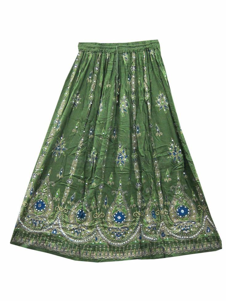 """Lehenga Print Hand Work Sequin Skirt Rayon Long Skirt 36"""""""
