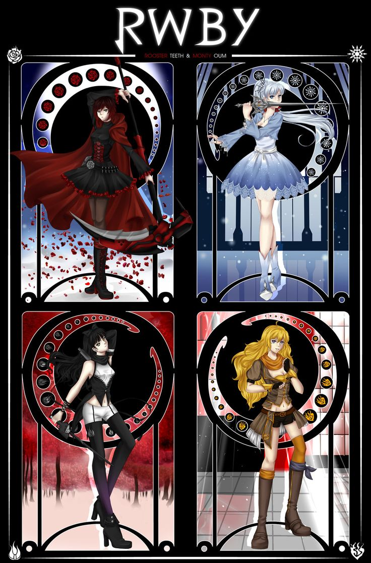 RWBY by zoeymewmew13.deviantart.com on @deviantART __________________________________________ I know that there's a name for this stained glass/ art style type of thing but the name eludes me...