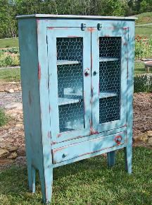 Country Farm Furniture, Country Farm Jelly Cabinet, Shaker Base, Wire Doors, Aquamarine over Flame, Medium Rub, Medium Distressing