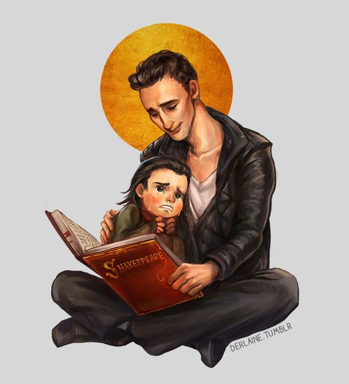 Tom babysitting Loki < HES READING HIM SHAKESPEARE AND IM DYING << Pinning for that fact!