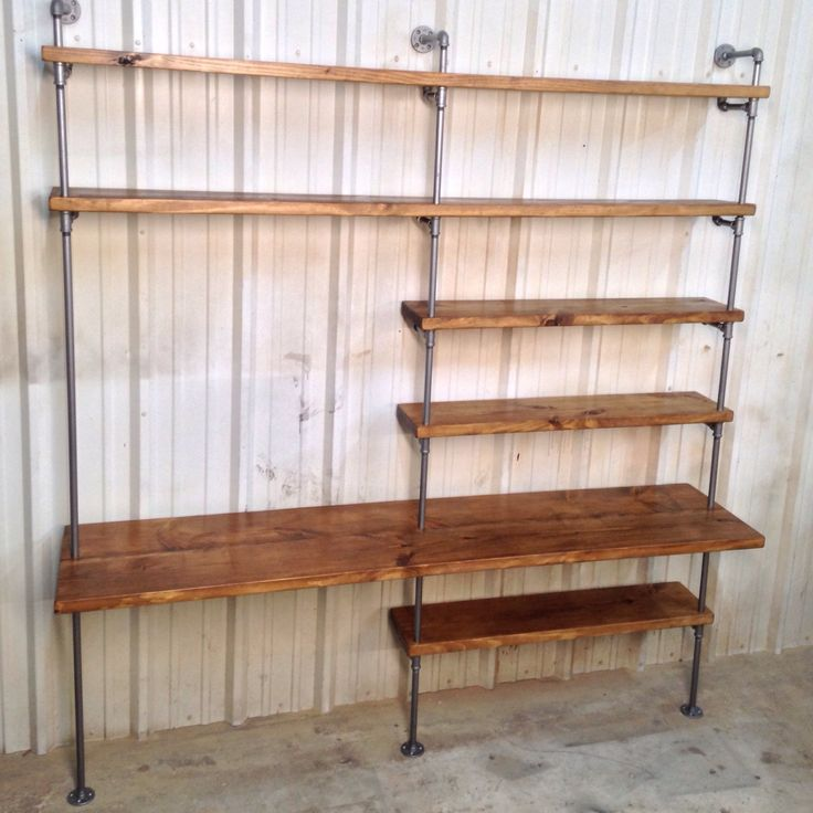 Pipe Shelving Unit Industrial bookcase w/ desk by IndustrialEnvy