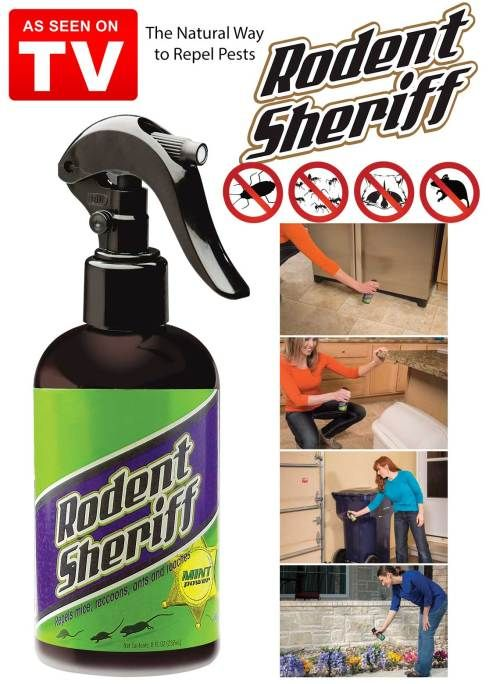 """""""With the Rodent Sheriff Peppermint Spray you can safely and easily eliminate your home of rodents and pests."""""""