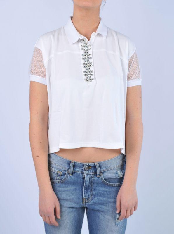 PINKO - Top bianco con pietre gioiello   Di Pierro  http://www.dipierrobrandstore.it/product/2493/Top-bianco-con-pietre-gioiello.html