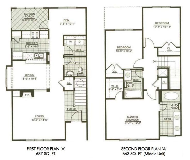 Modern town house two story house plans three bedrooms for Two story house layout