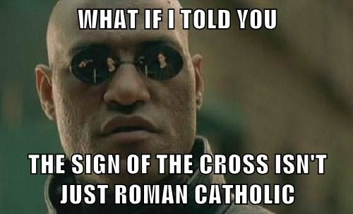 "mind=blown. #lutheran #humor                              (it's also from the Greek and Eastern churches, and Liturgical Protestants.                          Plus, Catholic is a Greek term itself, and not always ""Roman."")"