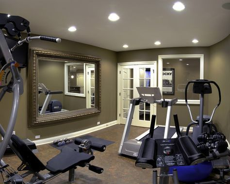 Home Gym Basement Gym Design, Like the French Doors and the funky mirror for an exercise room
