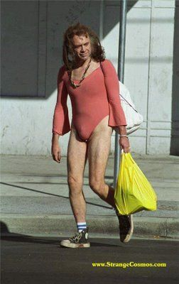 Lost his pants in a card game the night before and is on his way to Walmart to pickup another pair of pants...does Walmart also do haircuts?