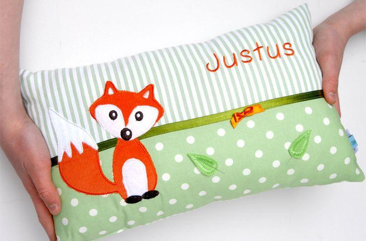 Namenskissen & Decken - Namenskissen Fuchs für Jungen und Mädchen - ein Designerstück von BiggisDesign bei DaWanda