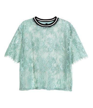 Spitzenshirt | Pistaziengrün | Damen | H&M DE