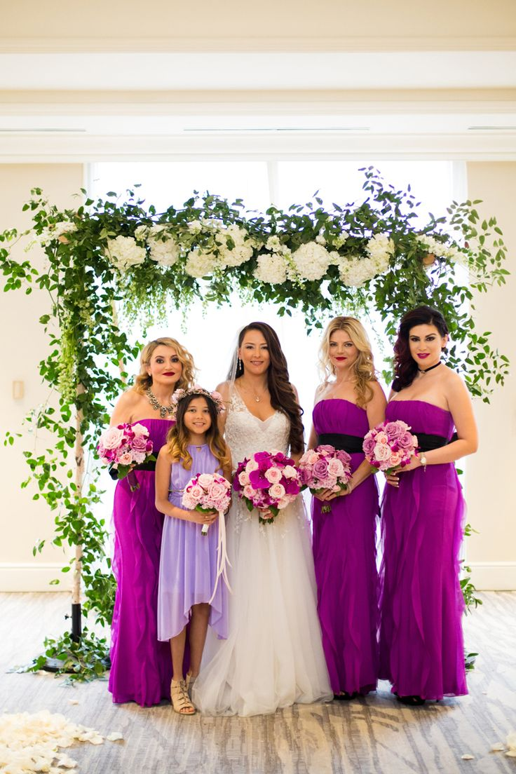 Radiant orchid bridesmaid dresses (Shay and Olive)