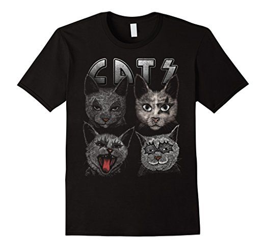 Amazon.com: funny cats rocker T shirt: Clothing inspired by kiss band fans tshirt