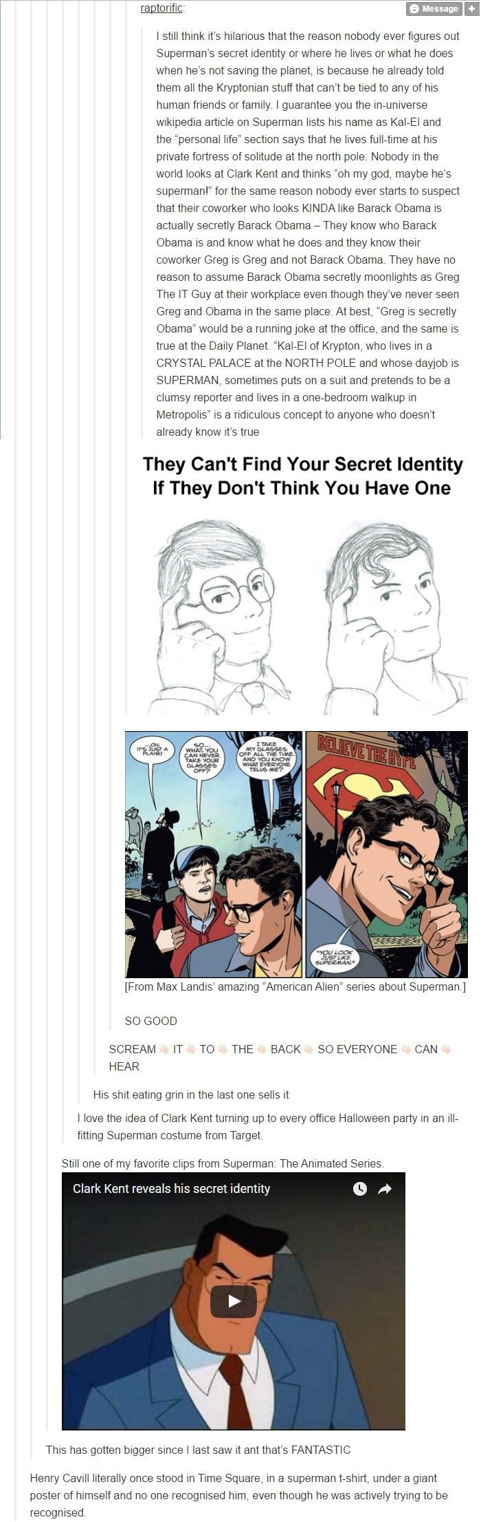 Why no one guesses Superman is Clark Kent.