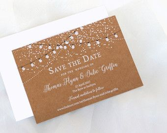 Wedding Invitations Twinkle Lights Outdoor By PaperBoundLove
