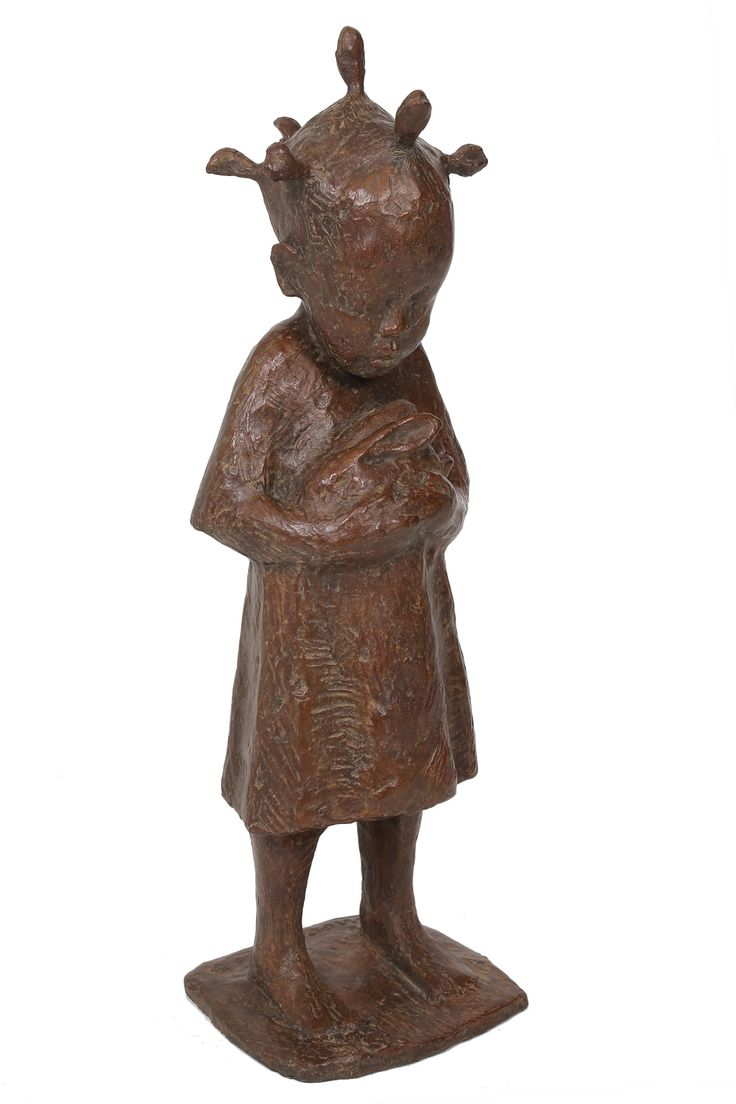 An original sculpture by Theo Megaw entitled Small Girl with Rabbit, bronze, h 62cm. For more please visit www.finearts.co.za