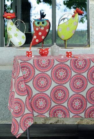 Stof - Nappe coton enduit anti tache rectangulaire Nador - Rose-Framboise - 155x250 cm - Nappe enduite