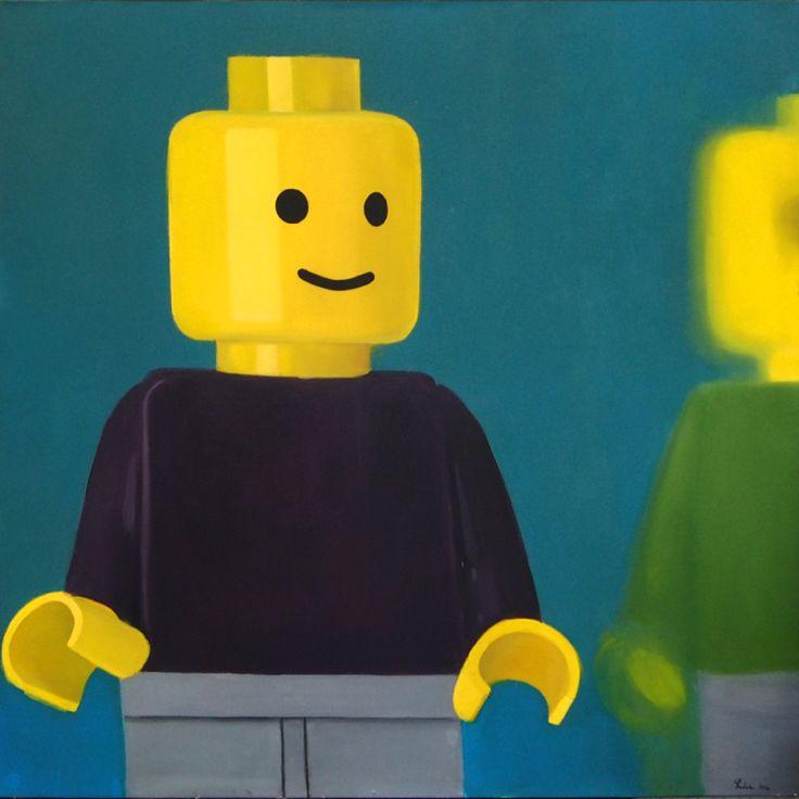 Legoman, Oil o canvas, 100x100cm