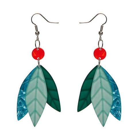 "Erstwilder Limited Edition Prehistoric Drops Earrings. ""Keeping herbivores happy for over 200 million years."""