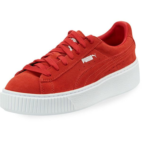 Puma Suede Platform Lace-Up Sneaker ($60) ❤ liked on Polyvore featuring shoes, sneakers, red, platform sneakers, red sneakers, lace up shoes, red suede shoes and red trainers