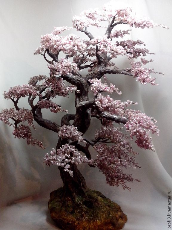 "Дерево из бисера сакура ""Ветер"" - розовый,Сакура из бисера,дерево,бонсай"