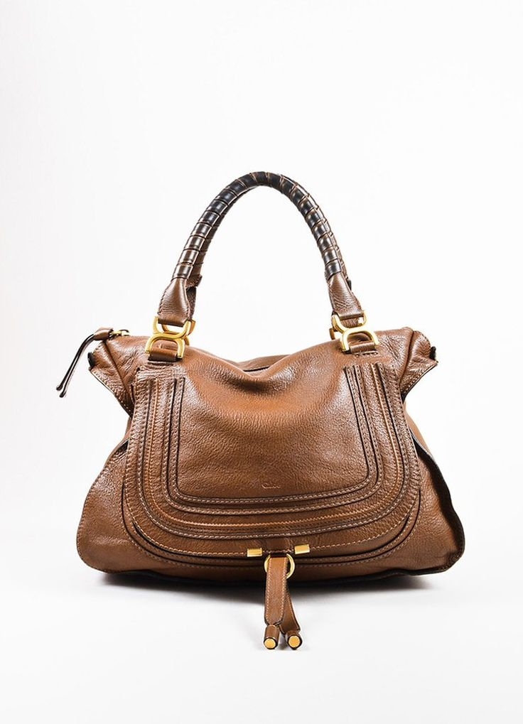 "Chloe Brown and Gold Toned Leather Large Top Handle ""Marcie"" Flap Satchel Bag"