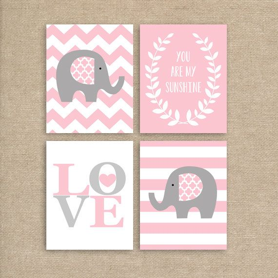Elephant Art Print Chevron Printable Pink by MooseberryPrintables, $20.00