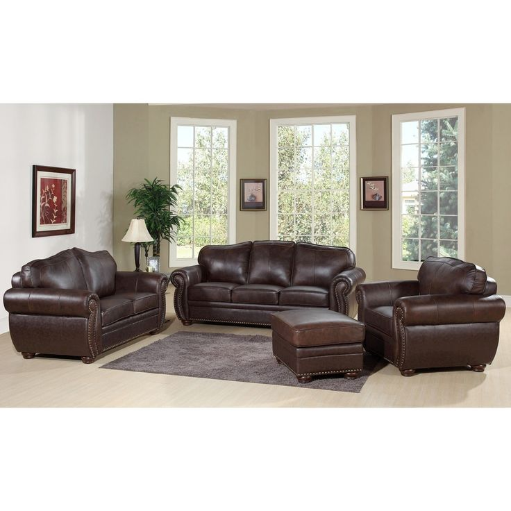 Abbyson Living Richfield 4 Piece Premium Top Grain Leather Sofa, Loveseat,  Armchair