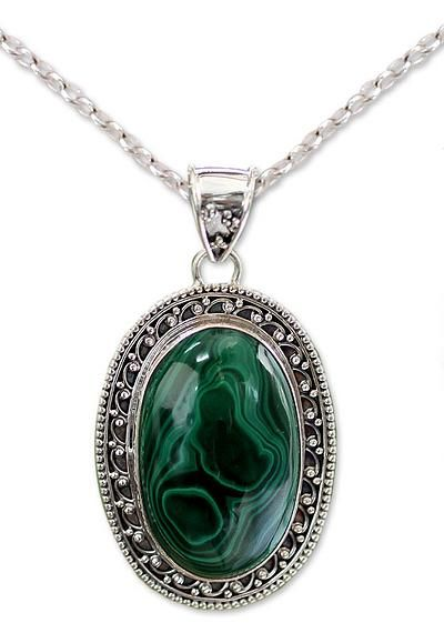 Sterling Silver Necklace Malachite Jewelry from India - Forest Whirlwind | NOVICA