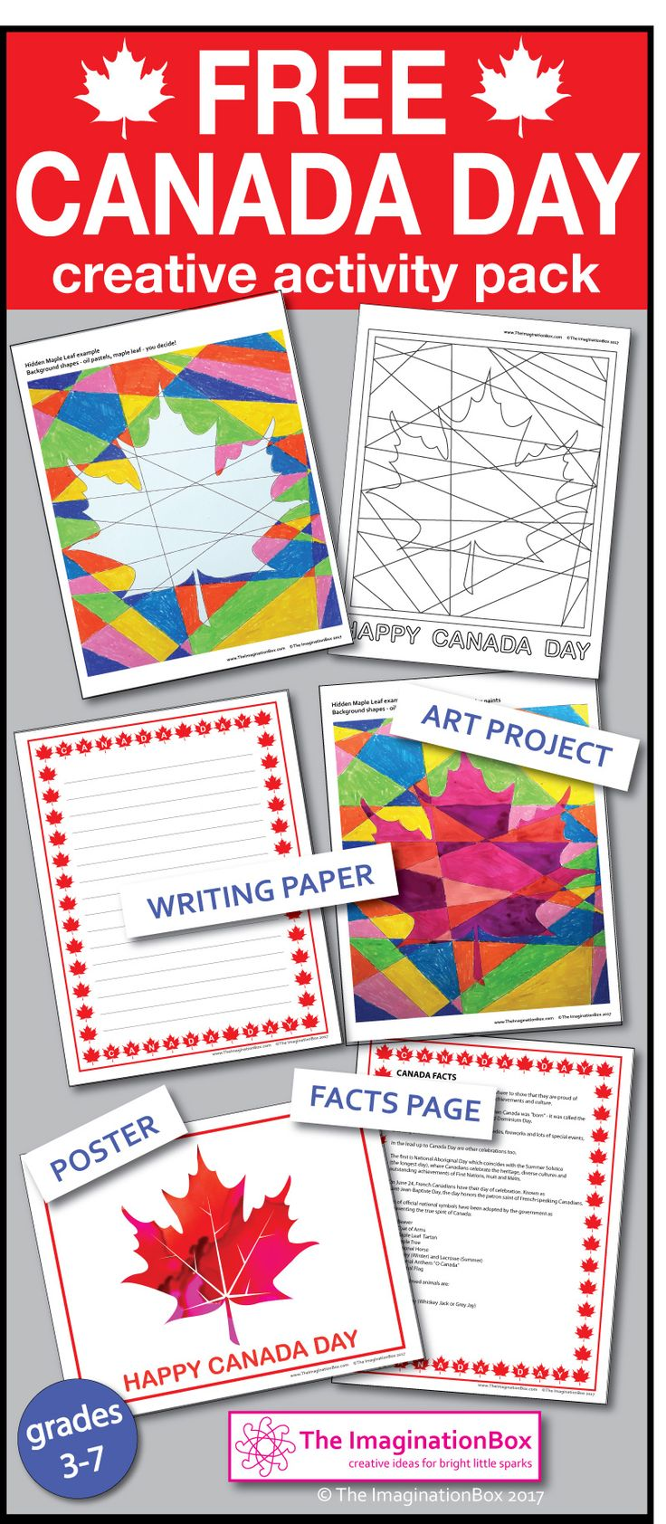 This FREE 8 page pdf download fun, imaginative Canada Day 150 maple leaf themed art and creative resource pack has been designed as a way of introducing my art projects and classroom decorations to your students. In this pack you'll find an abstract art project with photographed examples and ideas, a poster, a facts page and maple leaf bordered lined page for creative writing - click on the link to download - Happy Canada Day 150 July 1st!