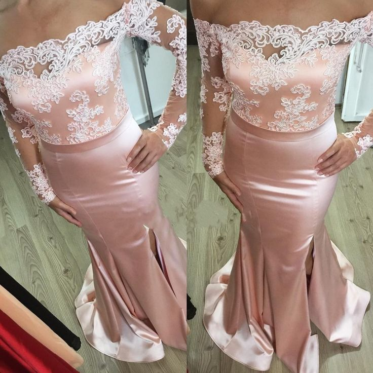 Custom Made V Neck Lace Top Plain Satin Elegant Long: 255 Best Images About Evening Dresses 2017 On Pinterest
