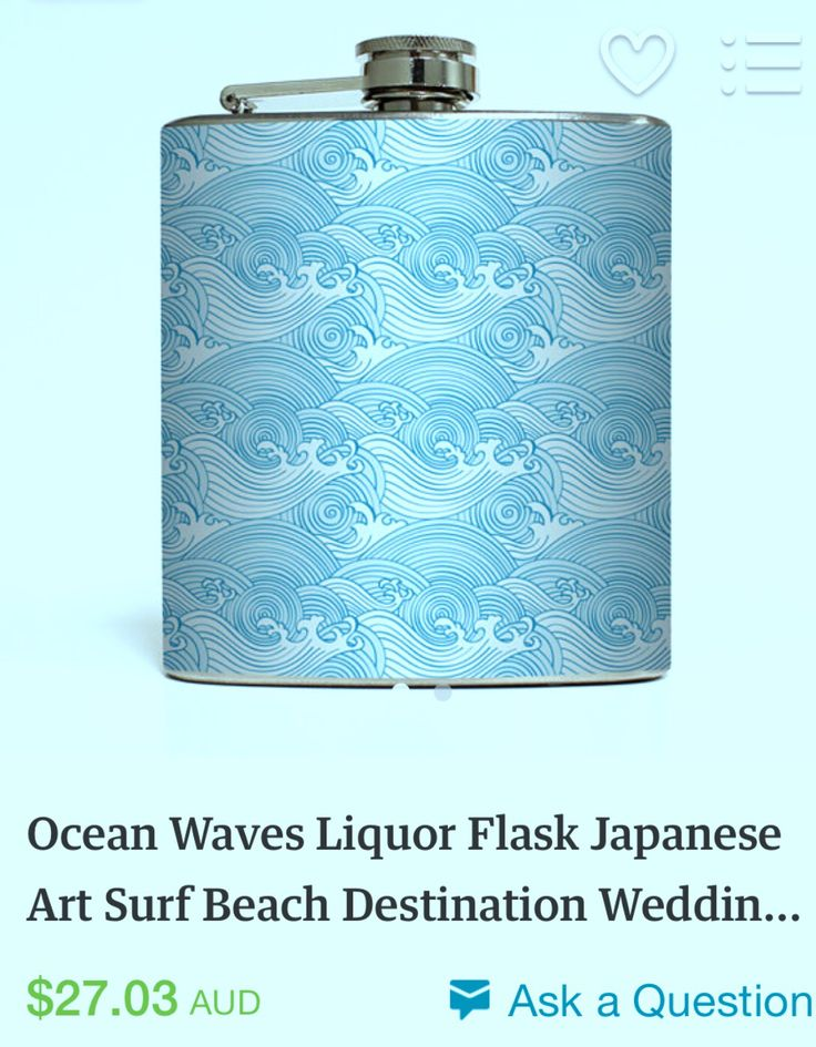 Groomsmen, groom, father of the bride, father of the groom and MC present idea. Japanese Water wave design hip flask found on Etsy.