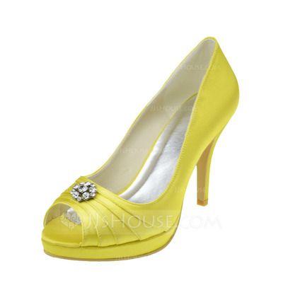 [£ 45.00] Women's Satin Stiletto Heel Peep Toe Sandals With Rhinestone (047062061)