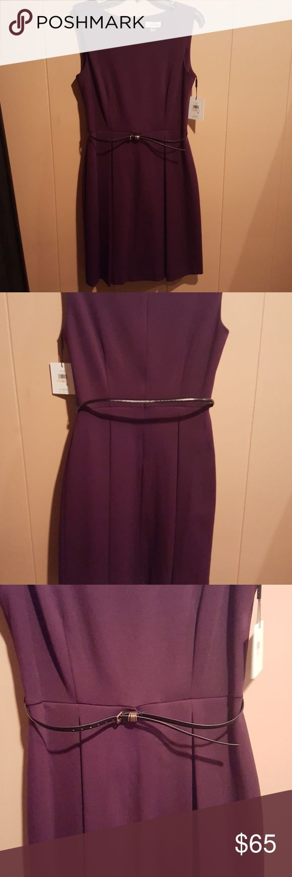 Calvin Klein NWT dress New Calvin Klein dress with pleated skirt. It is aubergine in color. Very beautiful for all occasions. Calvin Klein Dresses Midi