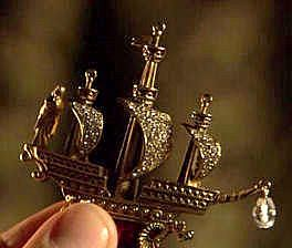 The Jewel Anne Boleyn sent to King Henry VIII depicting a woman on a ship in a storm tossed sea signifying that she was willing to brave the tempest with Henry and he was the diamond guiding the ship as her protector.