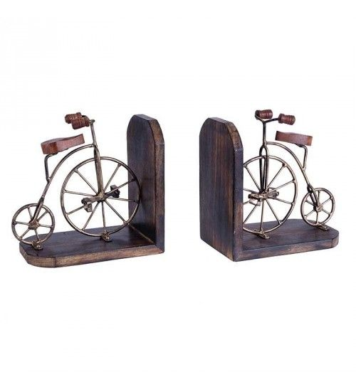 S_2 METAL_WOODEN BIKE BOOKEND IN BRASS COLOR  40(20)Χ12Χ23