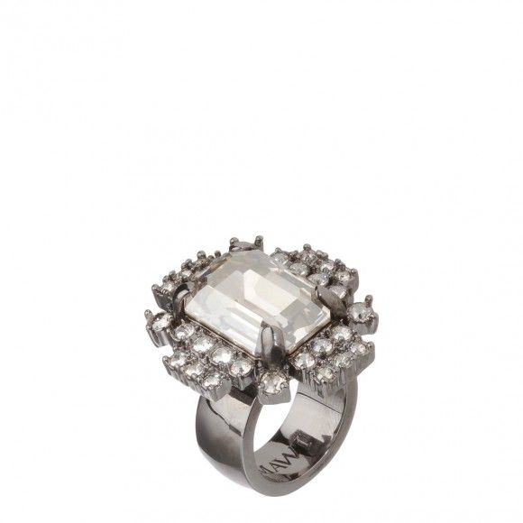 Silver/Clear Hematite Geometric Crystal Ring