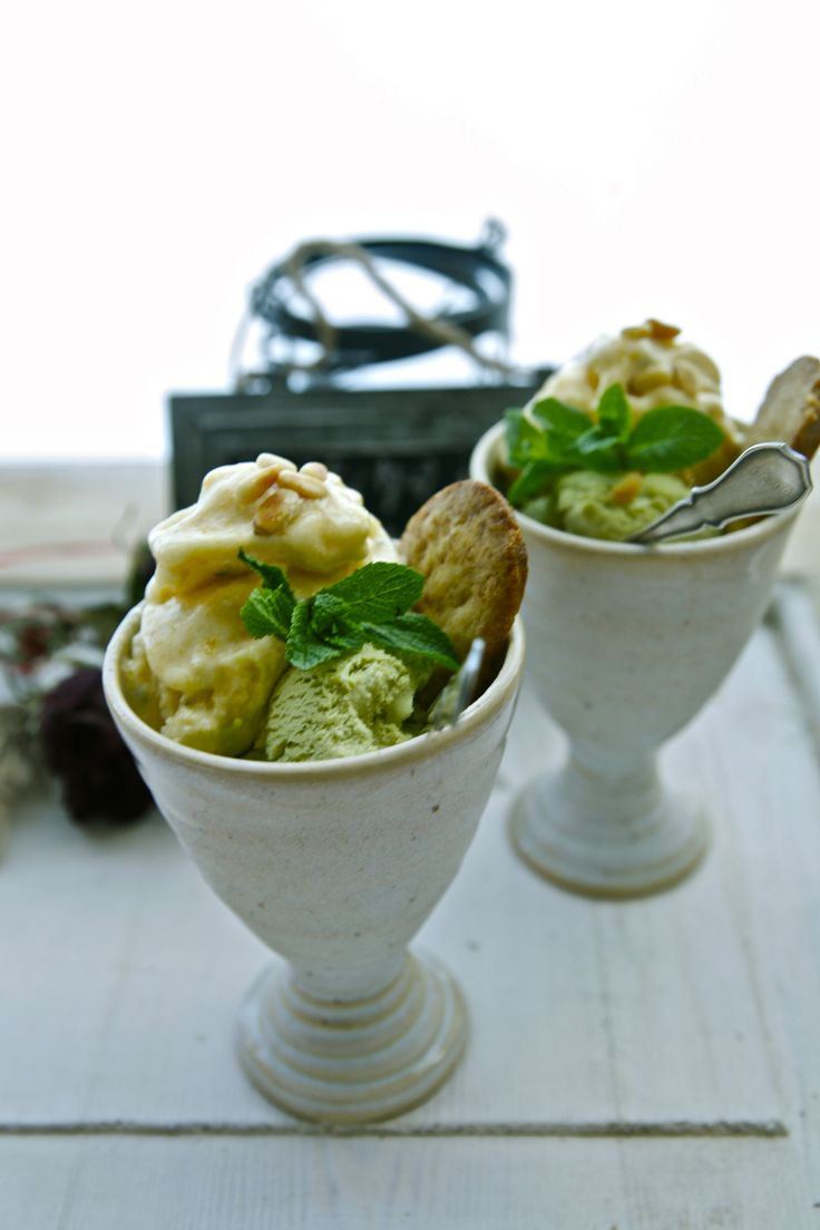 #matcha #ice-cream and #apricot #sorbet with #oliveoilcookies