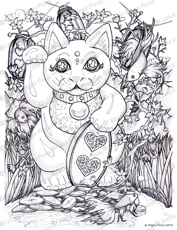 Good Luck Garden Maneki Neko Japanese Waving Cat Adult Coloring Book Page Instant