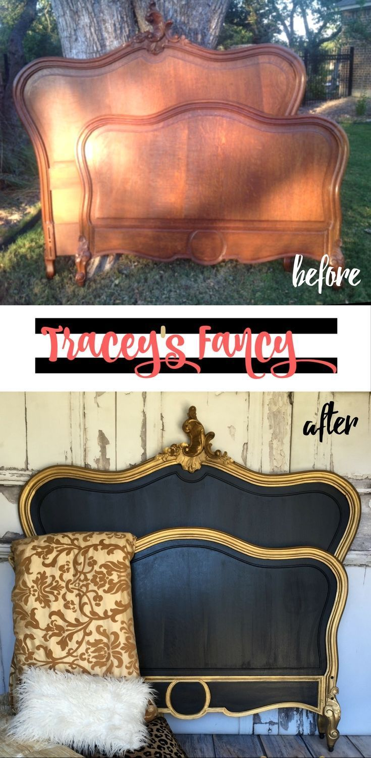 Classic White vs Classic Black Painted Headboard | Tracey's Fancy | Heirloom Traditions Raven with Gold Trim makes a royal and luxurious painted bed | Furniture Makeover. Please choose cruelty free vegan paints etc