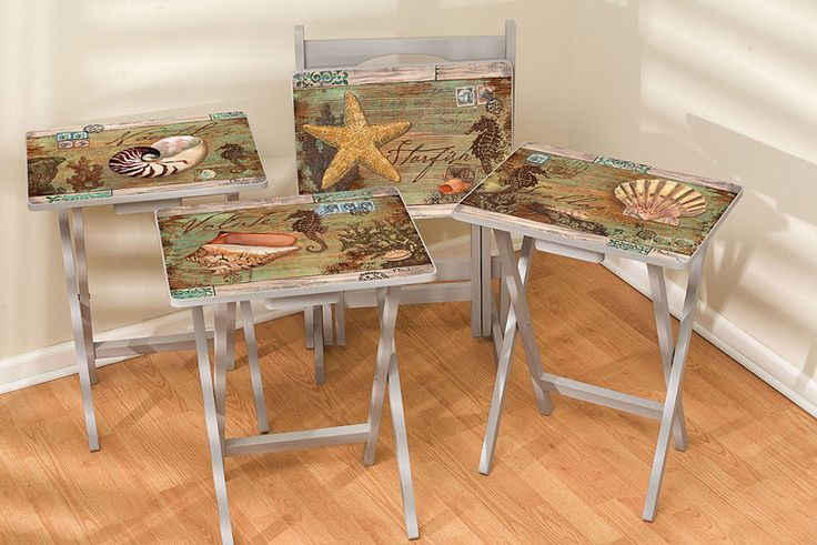 TV Tray w Stand Set of 4, Poste Nauticus. Out of stock Would be easy to create decopauging some reasonable trays.
