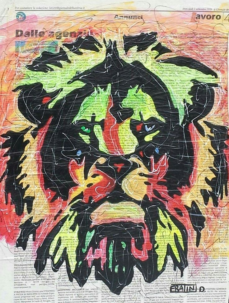 Lion Pop Acrilico su tela con Giornale 40cmx30cm 2015 byDaniele Fratini