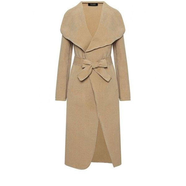 Yoins Yoins Duster Coat (€40) ❤ liked on Polyvore featuring outerwear, coats, coats & jackets, khaki, khaki coat, waterfall coat and duster coat