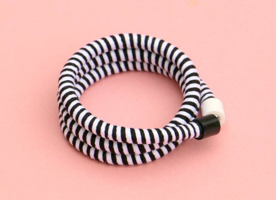 Black and white fabric rope wrap bracelet ringed by BeataTe