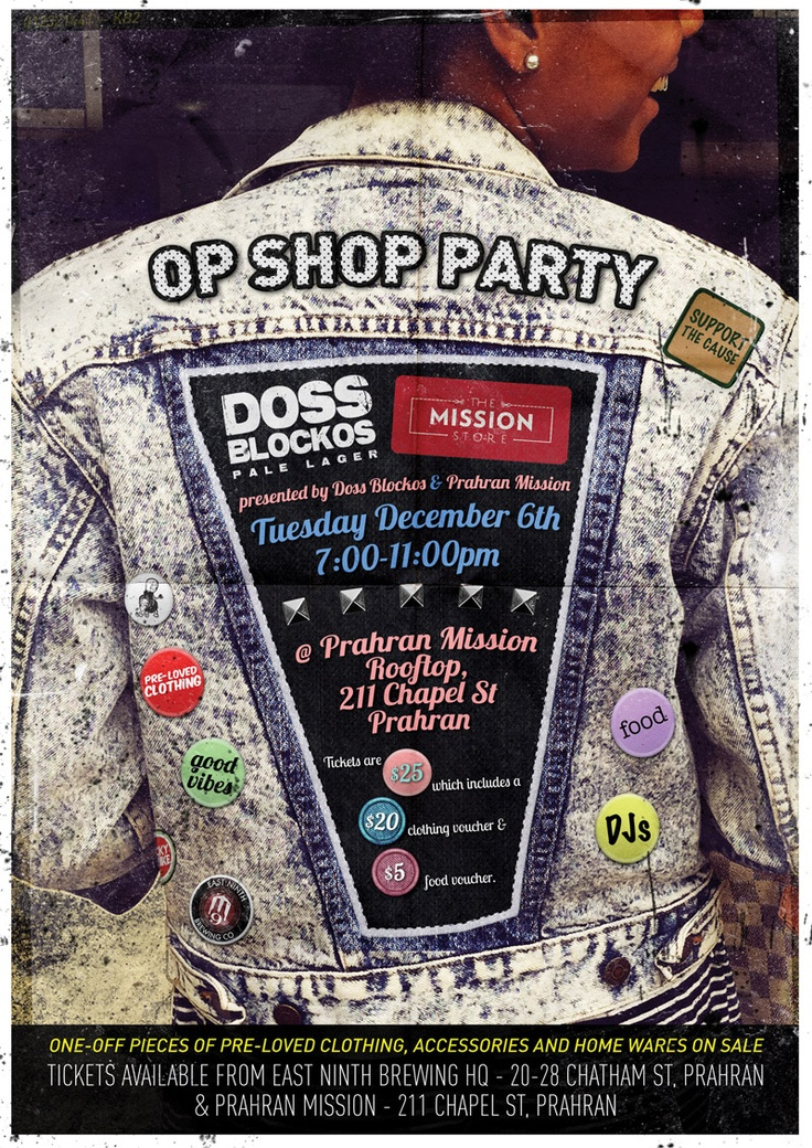 Doss Blockos & Prahran Mission charity rooftop Op Shop party