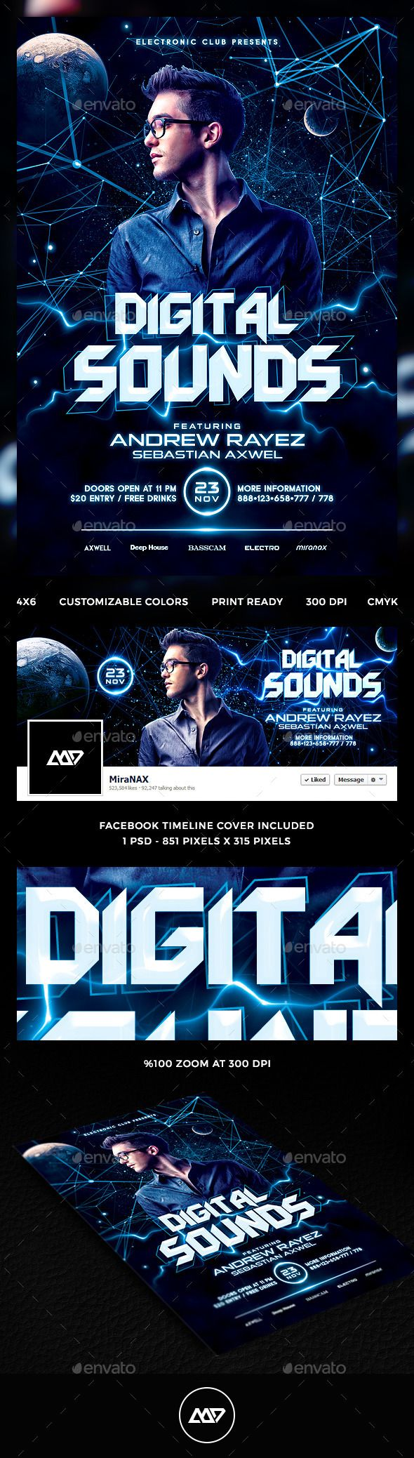 Electro DJ Flyer PSD + Facebook Cover Design Tempalte Download: http://graphicriver.net/item/electro-dj-flyer-psd-facebook-cover/12515839?ref=ksioks