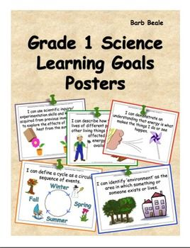 Teaching Grade 1 Science (Ontario Curriculum) has just been made a whole lot easier for you with these colourful posters with all of your LEARNING GOALS for the year. The clipart on each poster relates to the goals of all of the science units for grade 1:Needs and Characteristics of Living ThingsMaterials, Objects and Everyday StructuresEnergy In Our LivesDaily and Seasonal ChangesUse these posters during your lessons so you don't have to write the learning goals out.