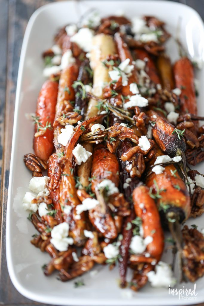 Roasted Carrots with Candied Pecans and Goat Cheese – fall Thanksgiving side dis…